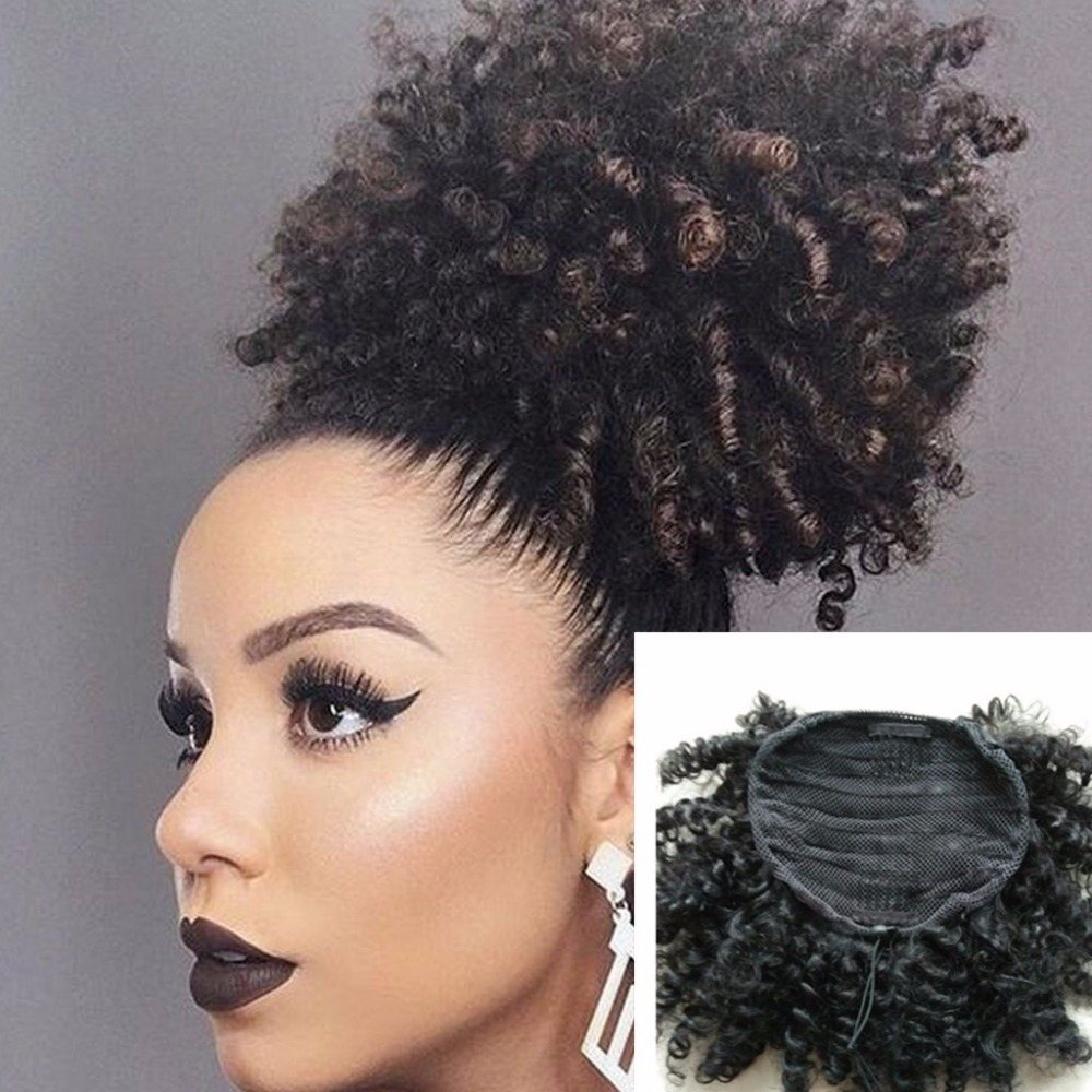 Afro Kinky Curly Weave Ponytail Hairstyles Clip ins Natural Ponytails Extensions drawstring ...