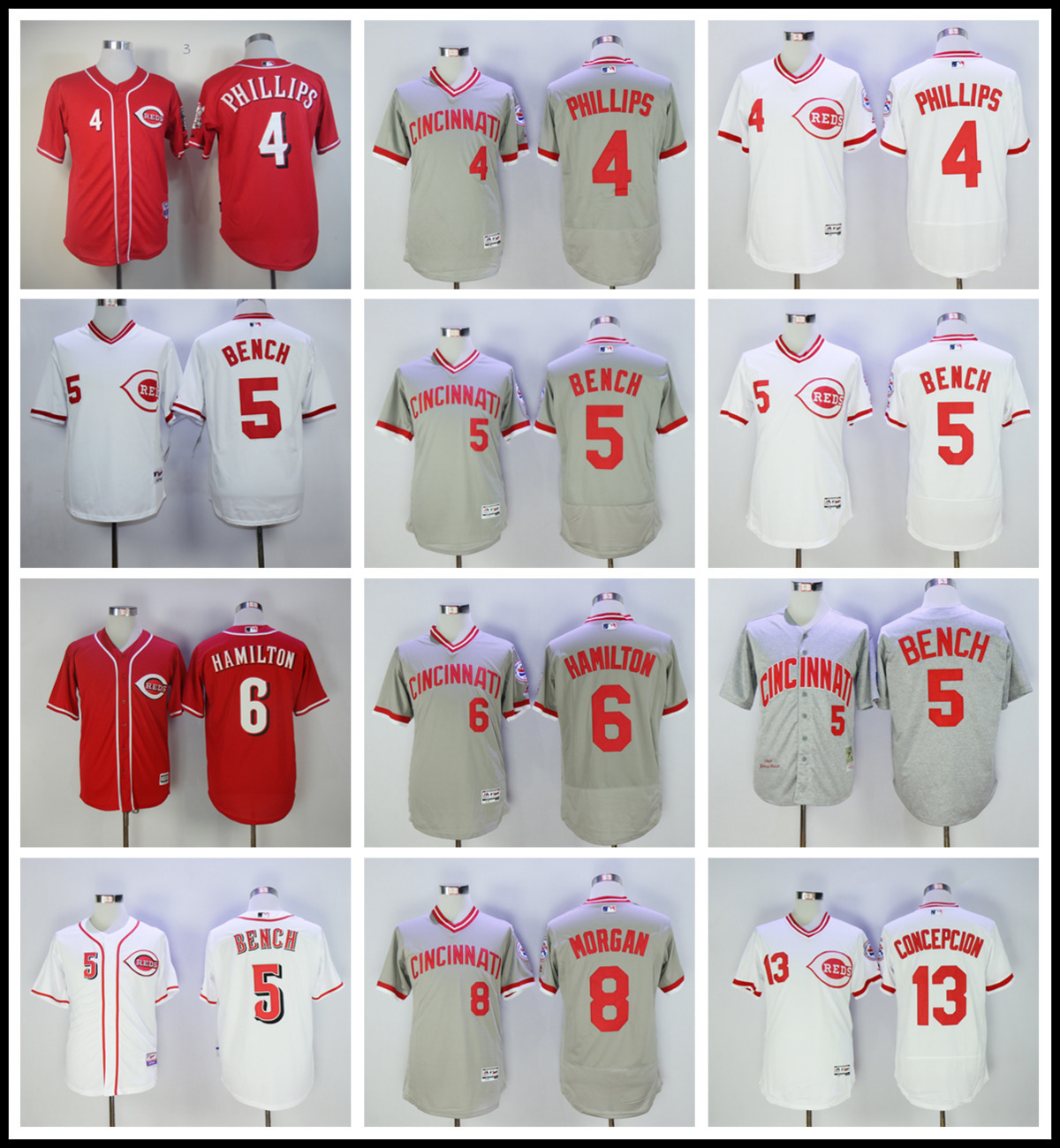 MLB Mens Cincinnati Reds Johnny Bench Joe Morgan Billy Hamilton jerseys
