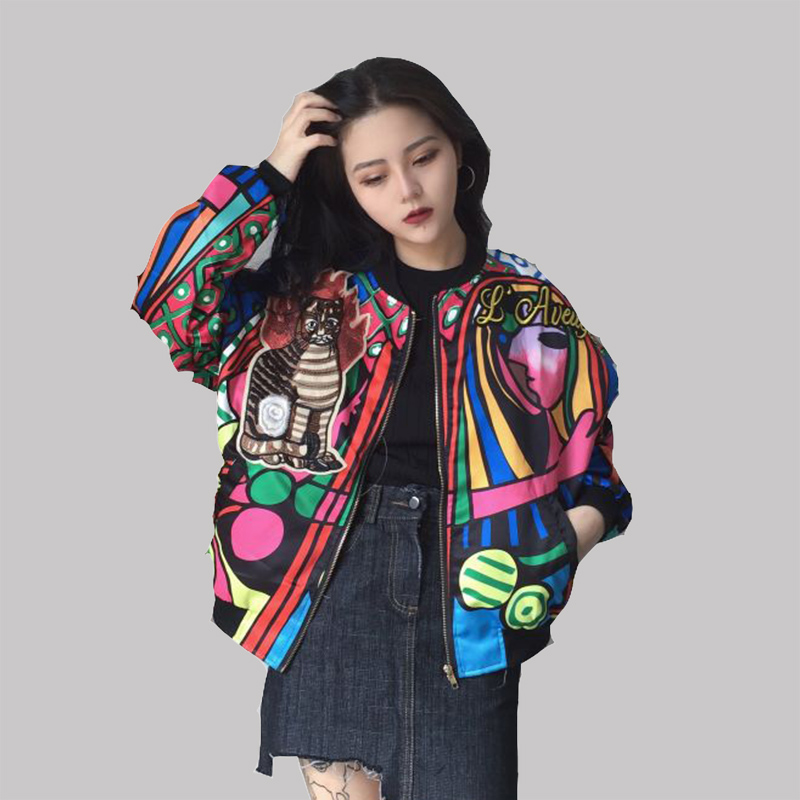 2018 Autumn Women Oversize Printing Zipper Bomber   Jackets   Patch Design Cat O-Neck Ladies   Basic     Jacket   z53 chaqueta mujer
