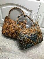 Плести корзины сумка пляжная сумка ручной работы Летние кожаные из ротанга Сумки Для женщин Kintted Повседневная сумка