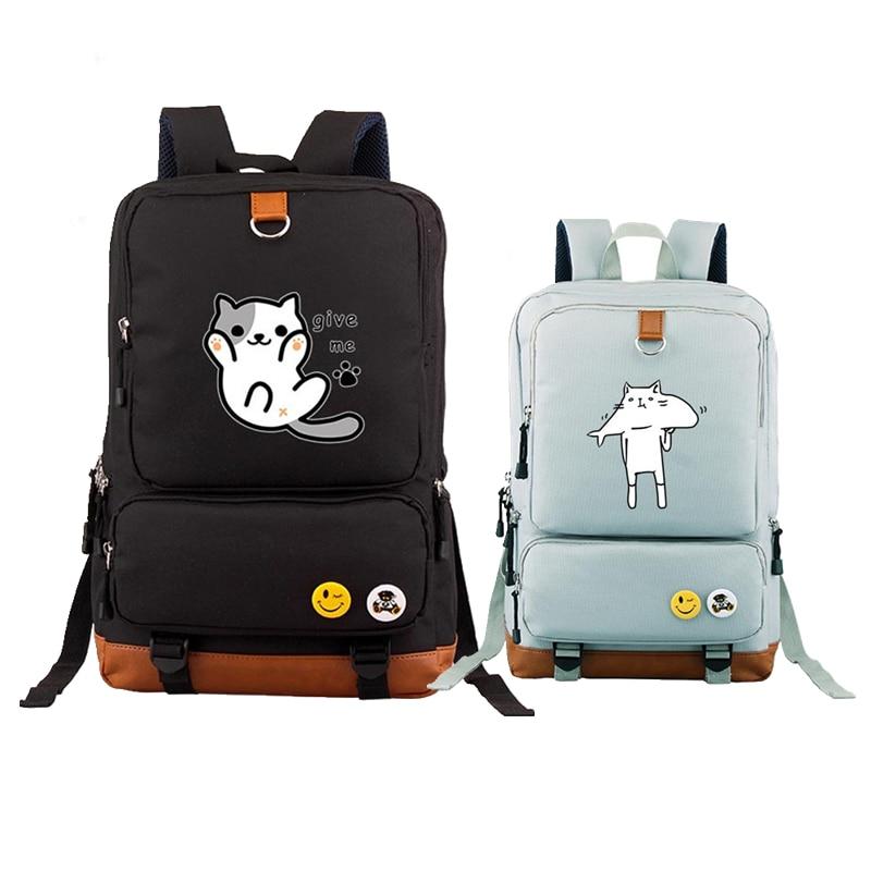 2017 New High Quality Neko Atsume Kawaii Cat Emoji Canvas Printing Backpack Mochila Feminina Fashion School Bags цена 2017