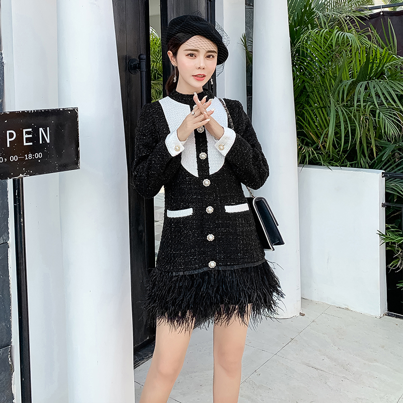 Bloc Tweed Crayon Plume Court Robe Color De Bal Longues Couleur Zipper Picture Hem 2019 Perles Printemps Manches Retour Patchwork Femmes FTK3Jlc1