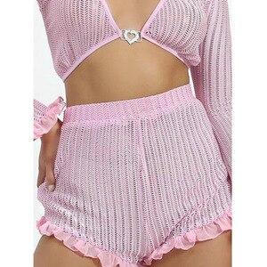 Женский комплект из 2 предметов, модный розовый шифоновый комплект из двух предметов, укороченный топ с длинными рукавами и оборками, привле...