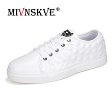 MIVNSKVE Brand Designer Spring Summer PU leather Shoes Bullock Men Casual Shoes British Fashion Retro Lace up Flat Sneaker Shoes
