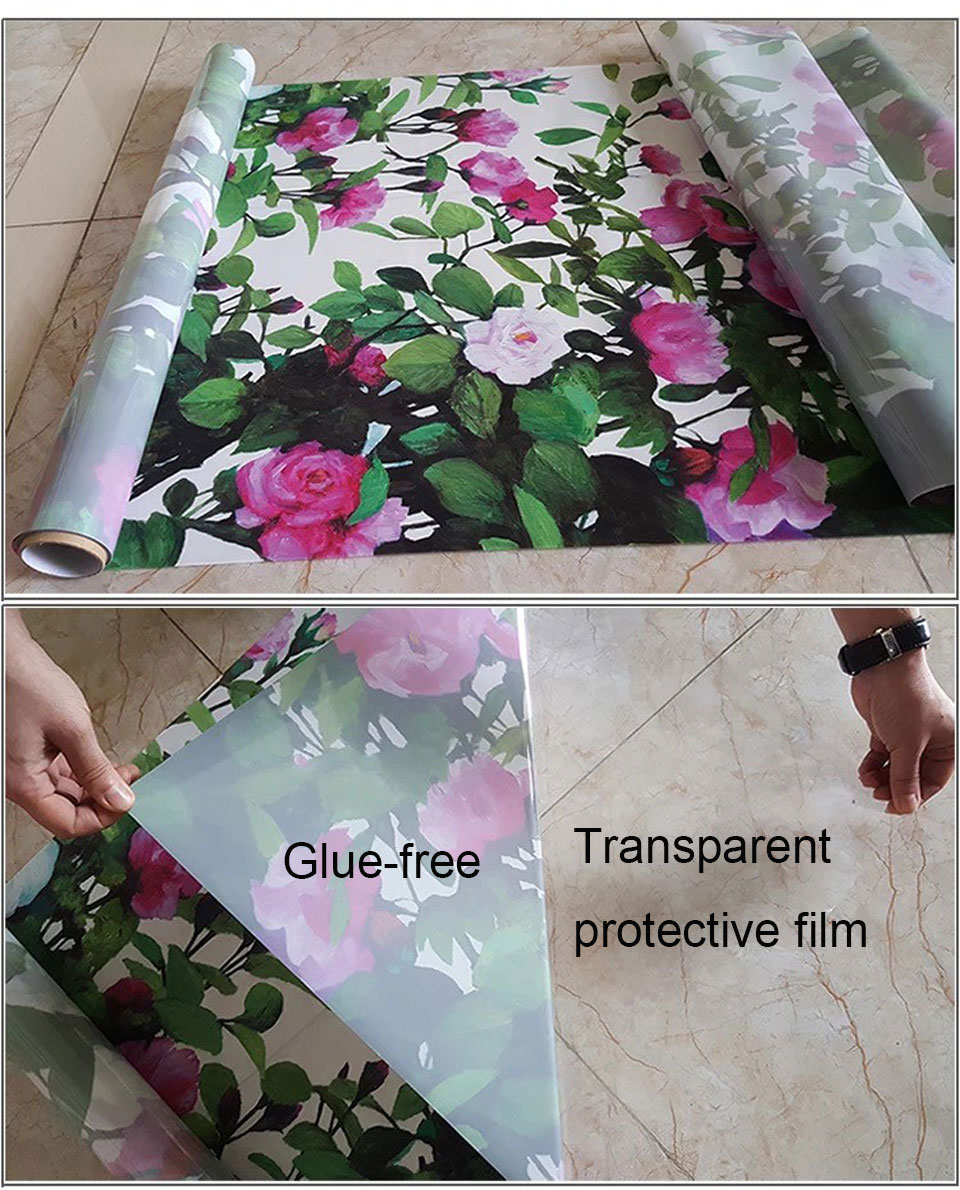 Rose Flower Glass Stickers Privacy Window Film Sticker Static Window Paper Bathroom Door Transparent Opaque Home Decorative Film