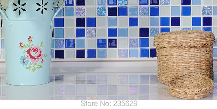 Free Shipping, Crystal Glass Mosaic Tiles,bathroom Mosaic Tiles, Blue Mix Color, 30cm*30cm Home Decoration Mosaic Tiles