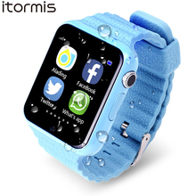 ITORMIS Child Sensible Watch V7 Kids Youngsters Safety Security GPS Location Finder Tracker Waterproof Cellphone Name SOS for iOS Android