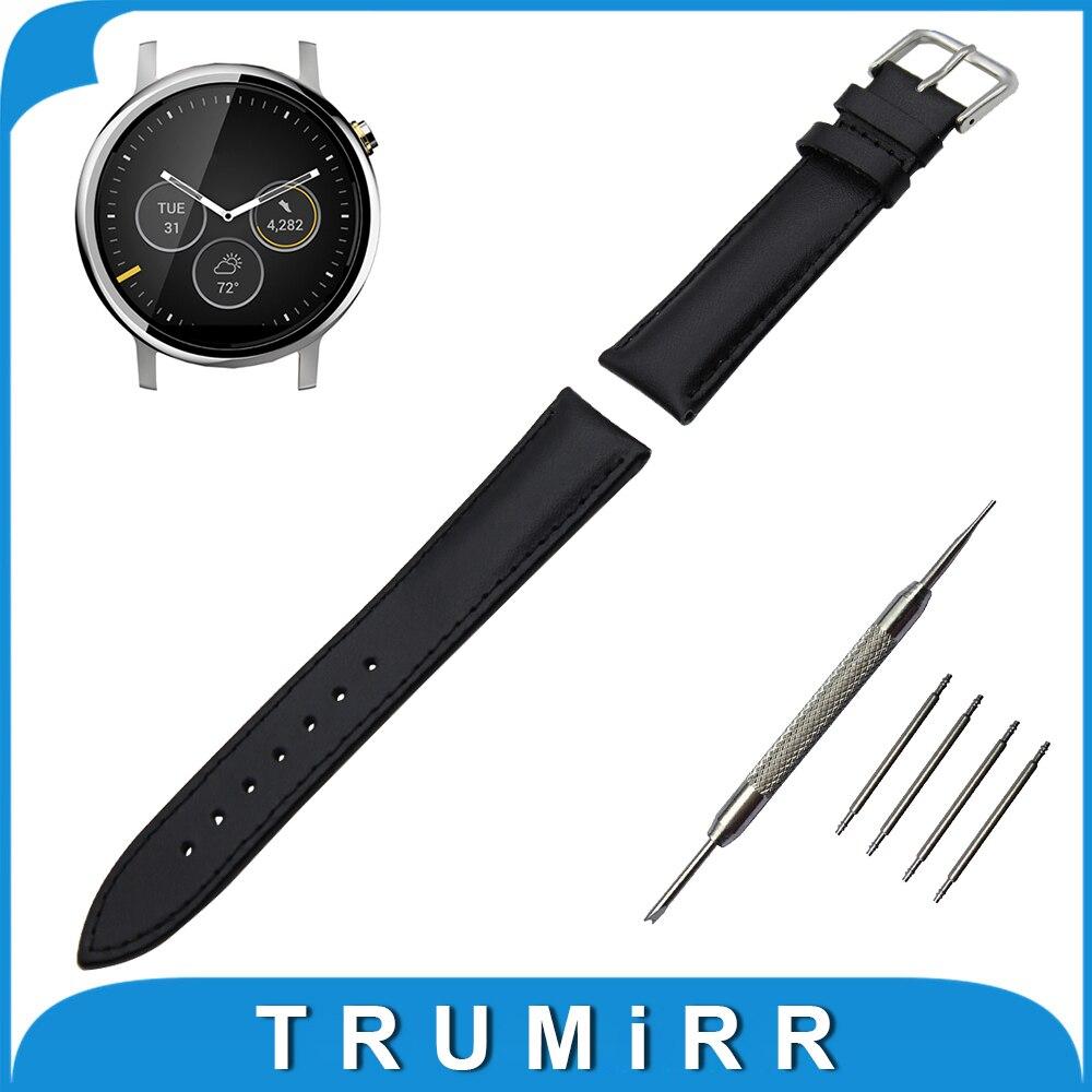 Genuine Leather Watch Band 22mm for Moto 360 2 46mm 2015 Stainless Buckle Strap Wrist Belt Bracelet Black Brown + Spring Bar
