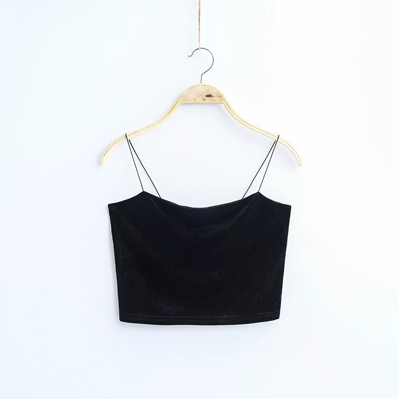 HTB1NcVwj2NNTKJjSspeq6ySwpXaj - Sexy Spaghetti Straps Tank Top Velvet Short Crop Top 7 Colors Sexy Boob Tube Top Bustier Brief Vest T-shirts Tee
