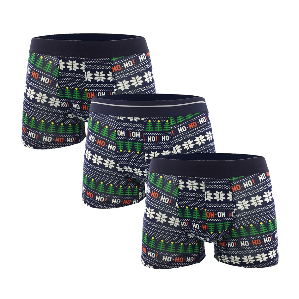 Delicate Cartoon Christmas Tree Cotton Boxers Men Sexy Underwear Breathable Homme -3605