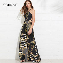 COLROVIE Floral Lace Up Cut Out Mixed Print Flare Halter Summer Dress Maxi  Dress 2018 Vacation Sleeveless Beach Women Dress f6f9ef4abbc8