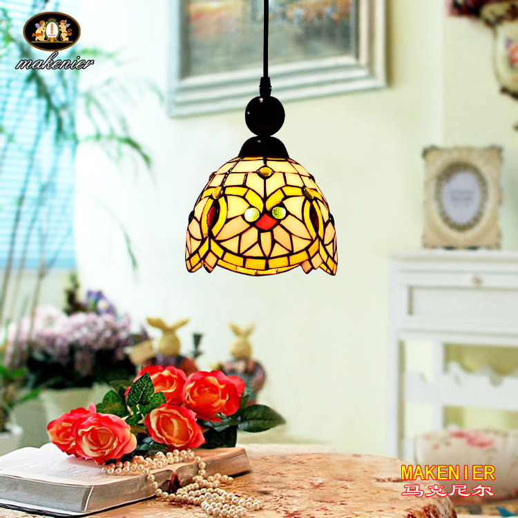 Makenier Tiffany Style Stained Glass Lotus Vintage Small Pendant Lamp, 6.7 Inches Lampshade snsd tiffany autographed signed original photo 4 6 inches collection new korean freeshipping 012017 01