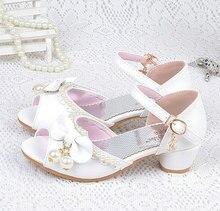 Розкішні літні дівчата дитячі дитячі принцеси сандалії шкіряне взуття перлинні ланцюжки на високих підборах боути сандалі Кереа стиль