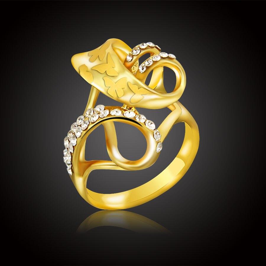 100% QualitäT Erluer Mode Gold Farbe Österreich Kristall Strass Blumen Ringe Frau Hochzeitsringe Partei Einzigartige Klassische Schmuck