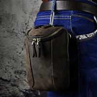 Oil Wax/Crazy Horse Cowhide Genuine Leather Waist Bag For Men Hip Bum Belt Hook Fanny Pack Purse Small Shoulder Messenger Bags
