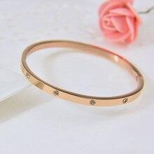 Тайм из нержавеющей стали 4 мм камень ювелирные изделия браслет titanium silver пару браслет крест роуз goldgold любовь браслет для женщин