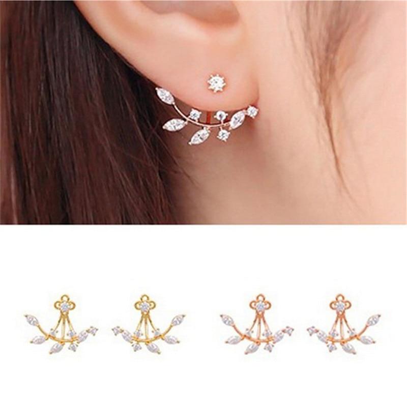 New Fashion Silver Plate Needle Zircon Stud Earrings For Women Ear Jacket Earring Best Gift S And D 410