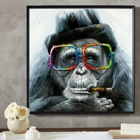 Ulight Canvas Wall Art Gorilla Monkey With Glasses And Pipe Animal Art Painting Abstract Modern Home Decoration Picture No Frame
