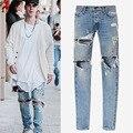washed havoc quality zipper jeans Fear Of God Jeans  Street hip hop Denim pants men straight distressed ripped hole Biker Jeans