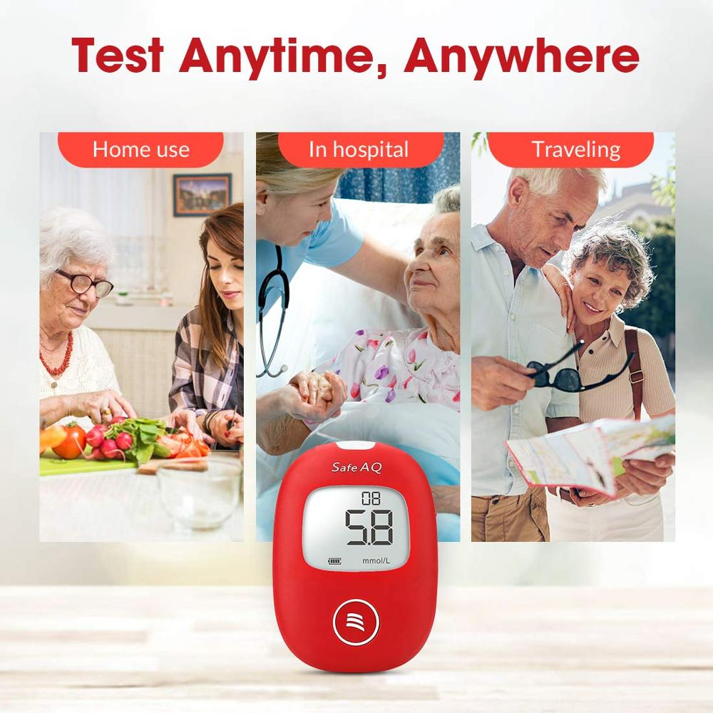 mg dL VS mmol L Sinocare Safe AQ Glucometer 100 Test Strips 100 Lancets Glm Exact Blood Glucose Meter Diabetes Tester in Blood Glucose from Beauty Health