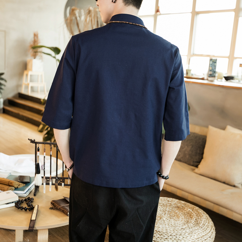 Chinese style summer fashion man's Pure color linen Short sleeve shirt high-grade male comfortable slim fit leisure shirt M-5XL 37
