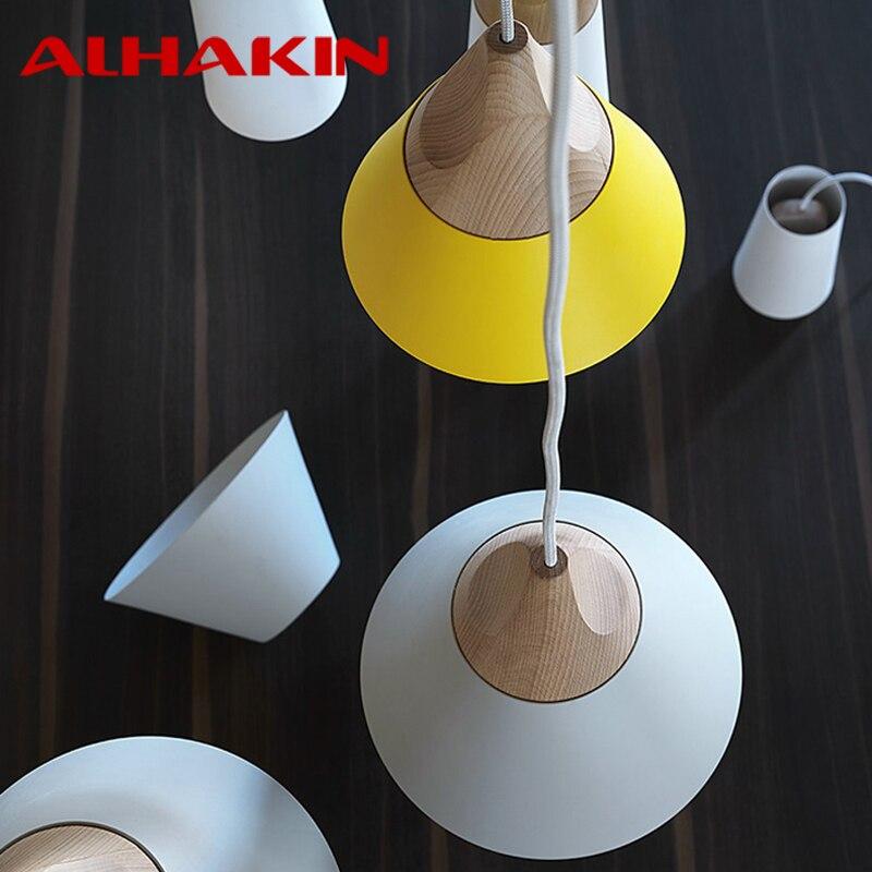 moderne ijzer hout wit geel grijs hanglamp 110 v 220 v hanglampen