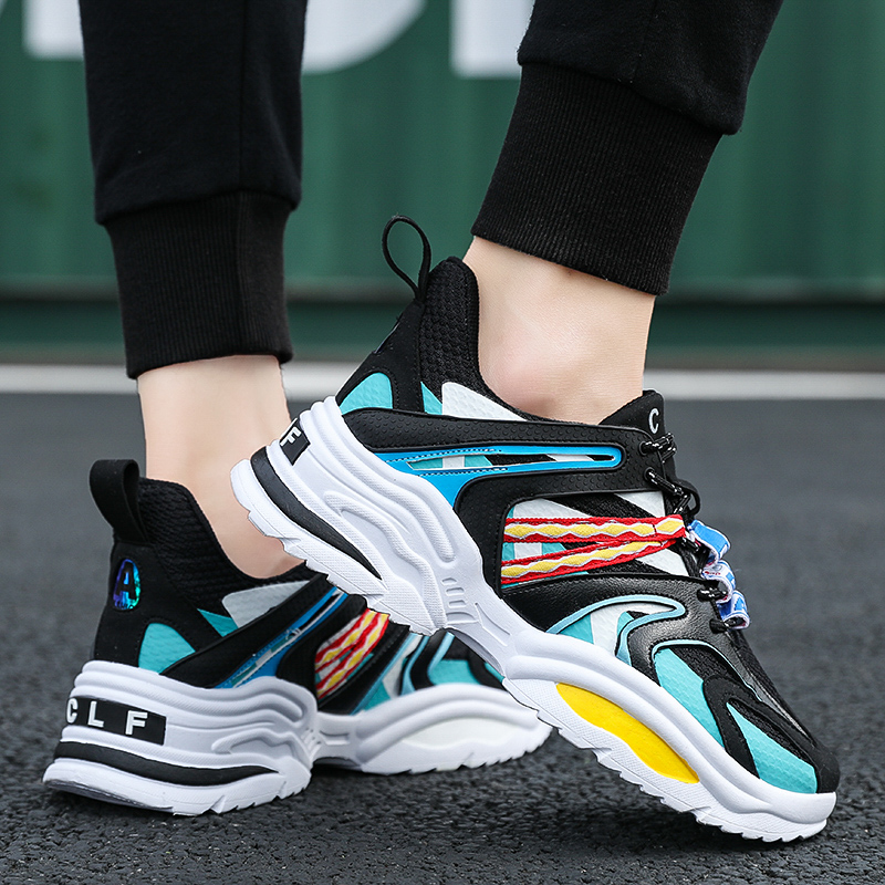 BomKinta New CLF Running Shoes Men Women Colorful Sports Shoes Height Increasing INS Breathable Athletic Trainers Unisex Size 46(China)