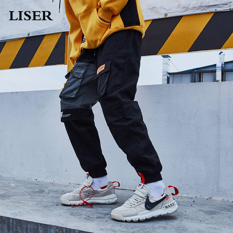 Liser Casual Pants Men  2019 Joggers Pants Streetwear Sweatpants Pantalones Hombre Pockets Loose Hip Hop Cargo Pants Men