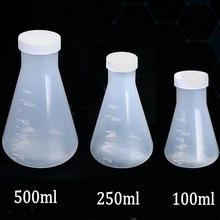 100 мл/250 мл/500 мл пластиковая колба Erlenmeyer, коническая колба бутылка с винтовой крышкой