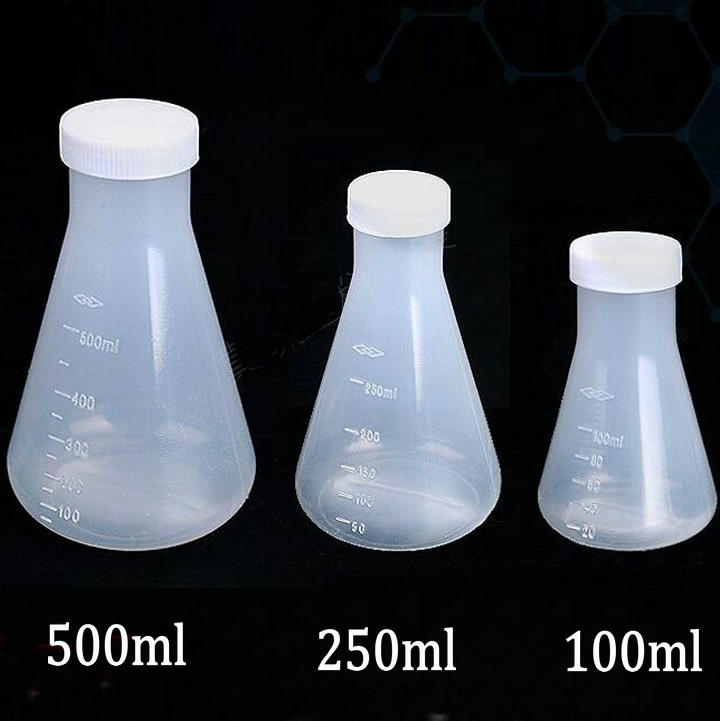 100/250/500ml Plastic Erlenmeyer flask, conical flask bottle with screw cap 500ml cell tissue glass culture flask with bevel screw cap angled neck