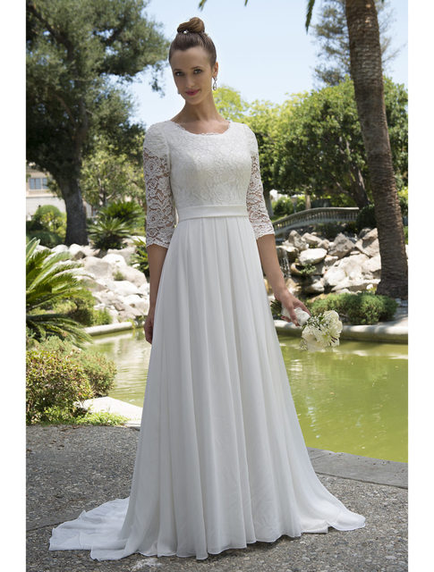 Informal Lace Chiffon Modest Beach Wedding Dresses With 34 Sleeves ...