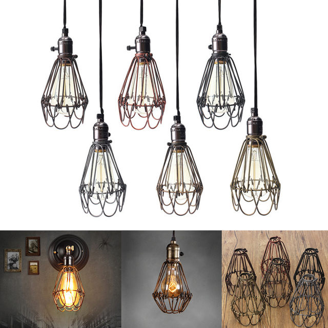 Online Retro Vintage Lamp Covers Pendant Trouble Light Bulb Guard Wire Cage Ceiling Ing Hanging Bars Cafe Shade Aliexpress Mobile