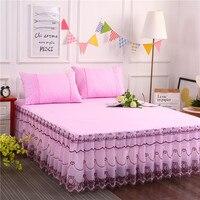 3 pçs conjunto falda de cama venda por atacado rendas saia cama único double1.5m/1.8 m colcha sem pilling sem desvanecimento nenhum encolhimento|Saia de cama| |  -