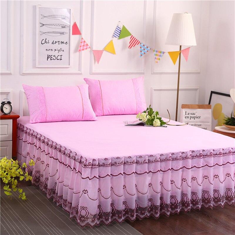 3pcs Set Falda De Cama Wholesales Lace Bed Skirt Single Double1.5m/1.8m Bedspread No Pilling No Fading No Shrinkage