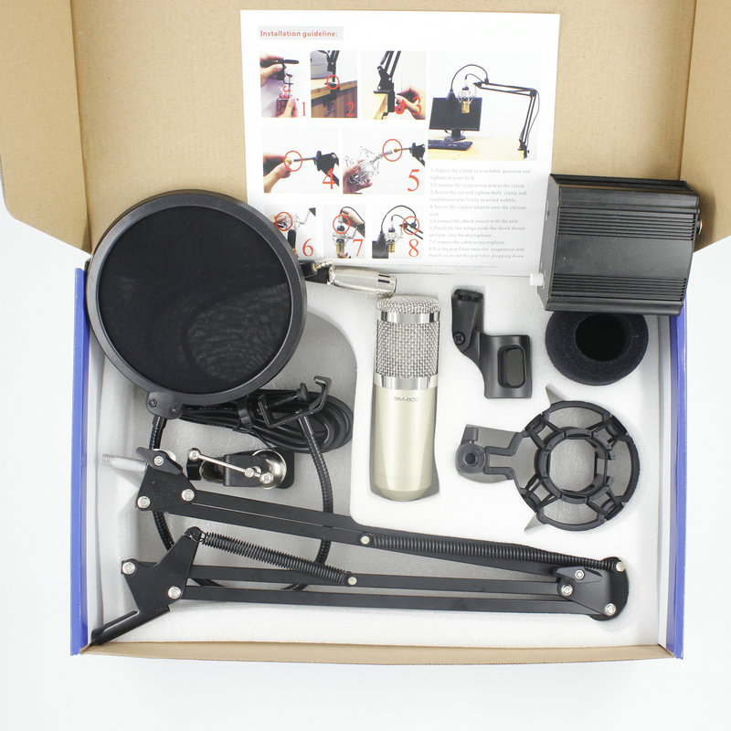 Professional <font><b>BM800</b></font> Condenser Sound Microphone For Recording Kit KTV Karaoke+ Pop Filter +NB35 stand + 48V <font><b>Phantom</b></font> <font><b>Power</b></font> Supply image