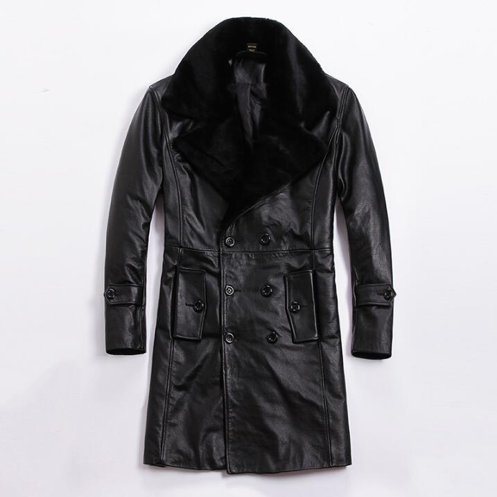 Новые зимние толстые теплые куртки из натуральной кожи одежда мужской тонкий длинный съемный меховой воротник ветровка мужская плюс Разме
