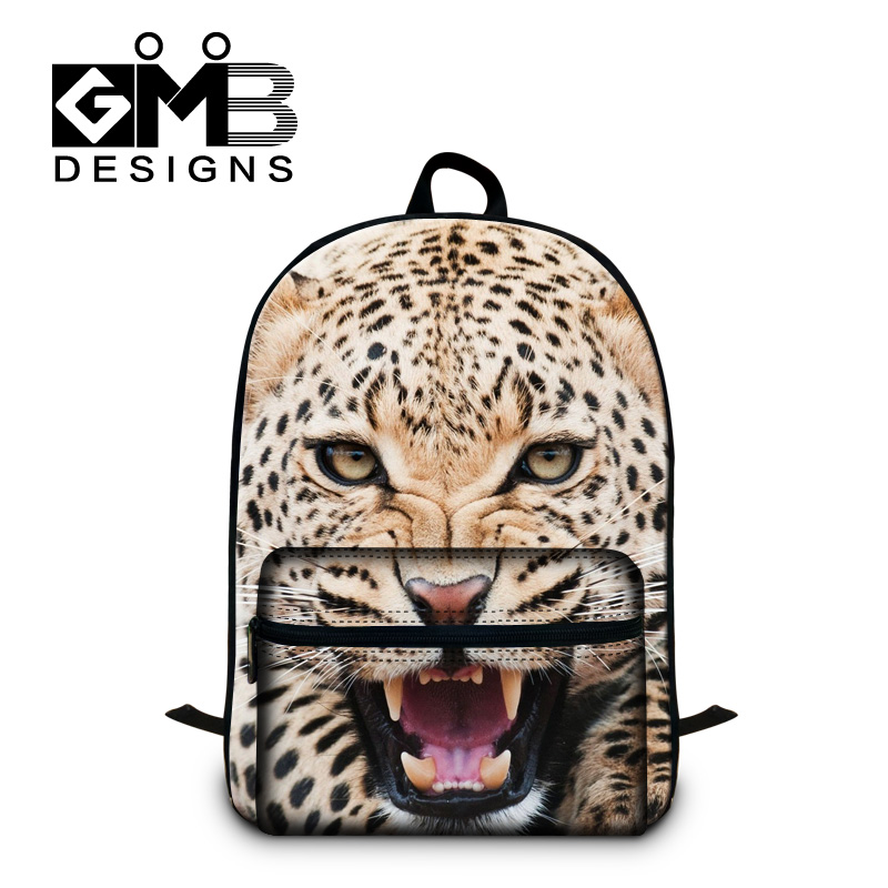 Dispalang Brand Animal Head Backpack Leopard Tiger Lion School Bags Large Capacity Student Book Bag Mens Casual Shoulder Bag