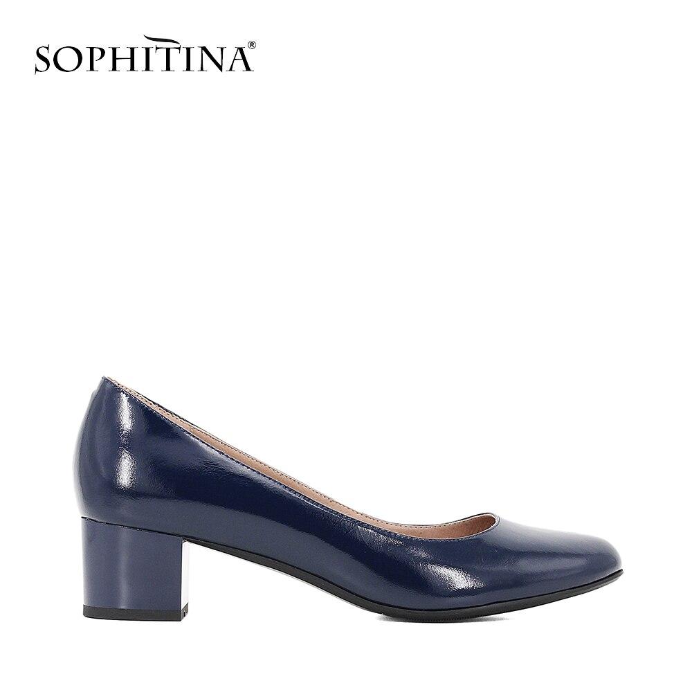 SOPHITINA элегантный Лакированная кожа женские туфли-лодочки темно-синий Лакированная кожа Осенняя обувь квадратный на низком каблуке мелкой О...