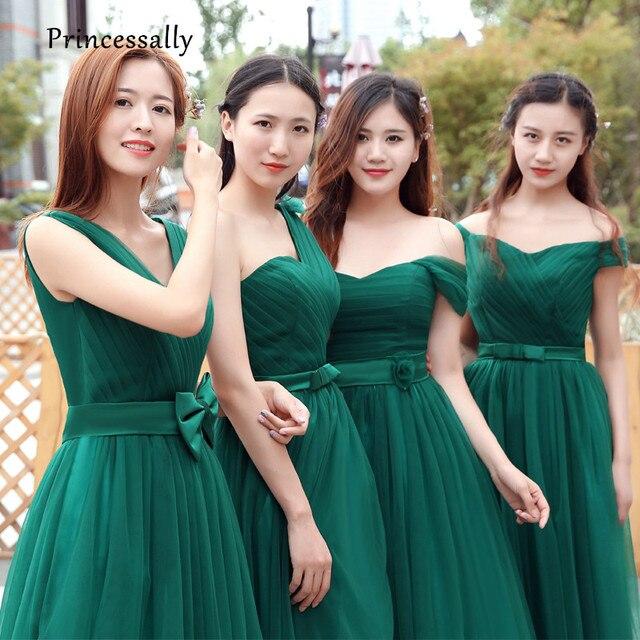 Vestido De Noiva Verde Esmeralda Vestidos de Dama de honra Longo Plissado  do Querido Estilos Misturados 300e6b966008