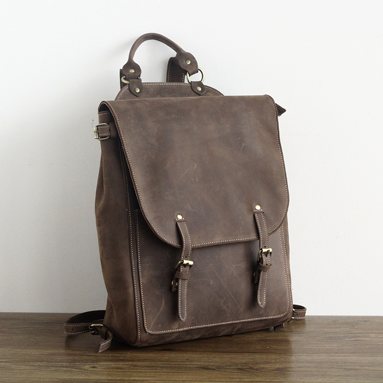 vintage man genuine leather laptop backpack men all cow leather leisure  travel knapsack 15 inch laptop cowhide field pack-in Backpacks from Luggage    Bags ... dc11a85257e3