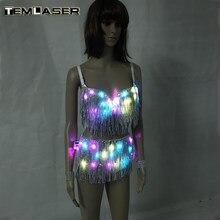 25cff317d007e Giysiler LED Parlayan Sutyen Şort Moda Aydınlık Takımları Kemer Gösterisi  Kadın Yansıtıcı Yüz Püsküllü Sutyen Dansöz Elbise Akse.
