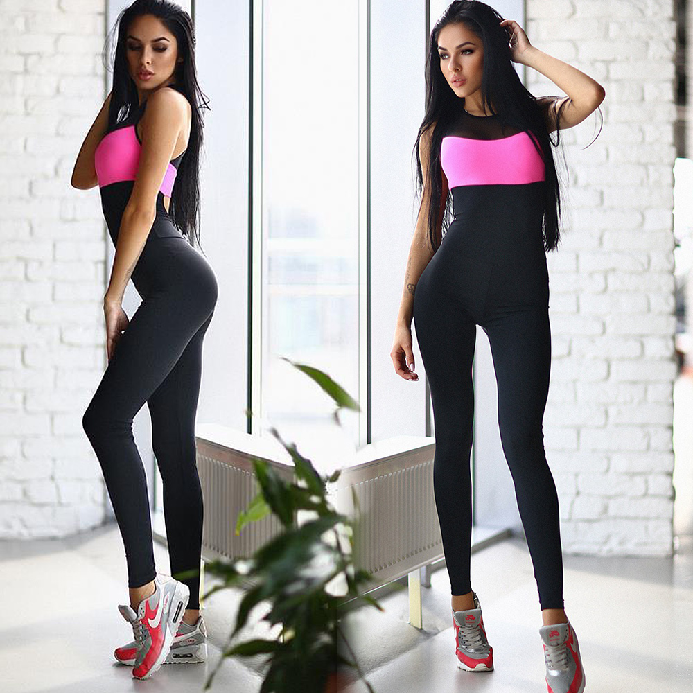 Women Pink Black <font><b>Sexy</b></font> Bodysuit Spring Exercise Straps Elastic Fitness <font><b>Bandage</b></font> <font><b>Jumpsuit</b></font> <font><b>Summer</b></font> <font><b>Sleeveless</b></font> Skinny Female Playsuits image