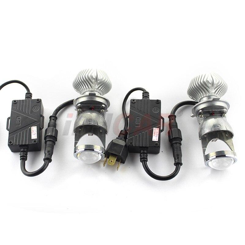 2 pièces Voiture Phare H4 Salut/Lo Faisceau projecteur LED Lentille 70 W 8000lm 5500 K Auto moto Phare Antibrouillard Ampoules