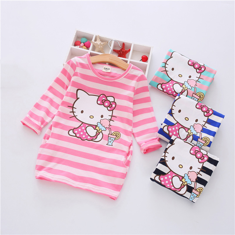 Fashion 2018 New Autumn Girls Dress Cartoon Kids Dresses Long Sleeve Princess Girl Clothes For 2-7Y Children Party Striped Dress 2 7y princess children girls white lace dress brand new long sleeve toddler kids elegant party dresses one pieces clothing