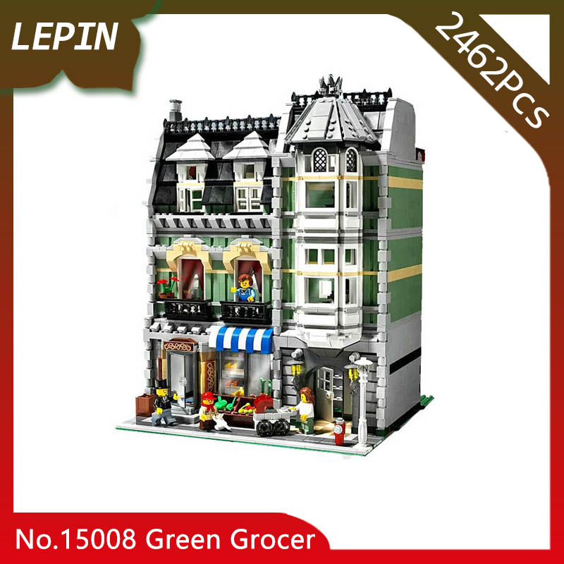 Lepin 15008 Green Grocer Model City Street 2462Pcs Building Kits Blocks Bricks Compatible Educational toys 10185 lepin 15008 new city street green grocer model building blocks bricks toy for child boy gift compatitive funny kit 10185 2462pcs
