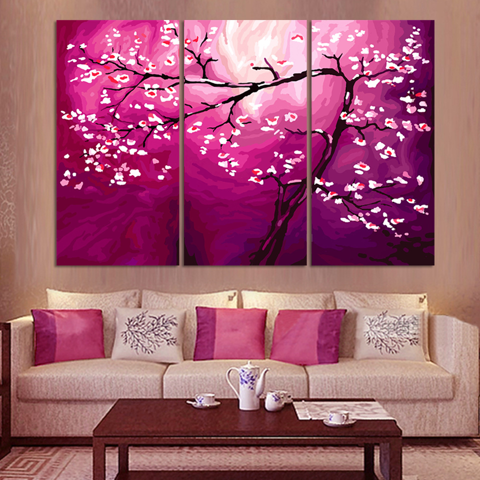 Contemporary artwork for the home - 3pcs Modern Abstract Money Tree Canvas Wall Art Oil Painting Print On Canvas Huge Home Decor