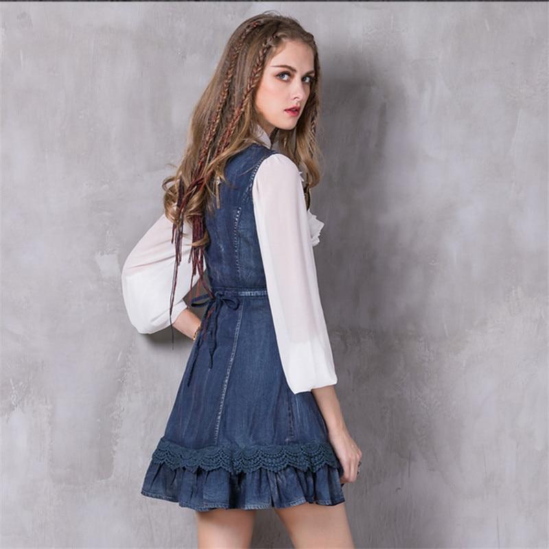 2017 Mode Haute Sundresse Dignité Dress Dentelle cou Broderie Floral ligne A Vintage Layered Vestidos O Femmes Denim Printemps qP1nf4t