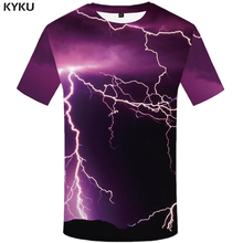 KYKU Lightning T Shirt Men Purple Space Tshirt Hip Hop Tee Mountain 3d Print T-shirt Anime Mens Clothing Summer Funny Shirts