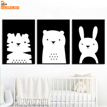 COLORFULBOY Bear Cat Rabbit Wall Art Print Canvas Painting Nordic Poster Black White Animal Pictures Baby Kids Room Decor