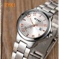 Eyki top brand relojes de cuarzo fecha reloj de las señoras de plata del amante de pulsera de acero inoxidable reloj de pulsera de diamantes de la moda femenina